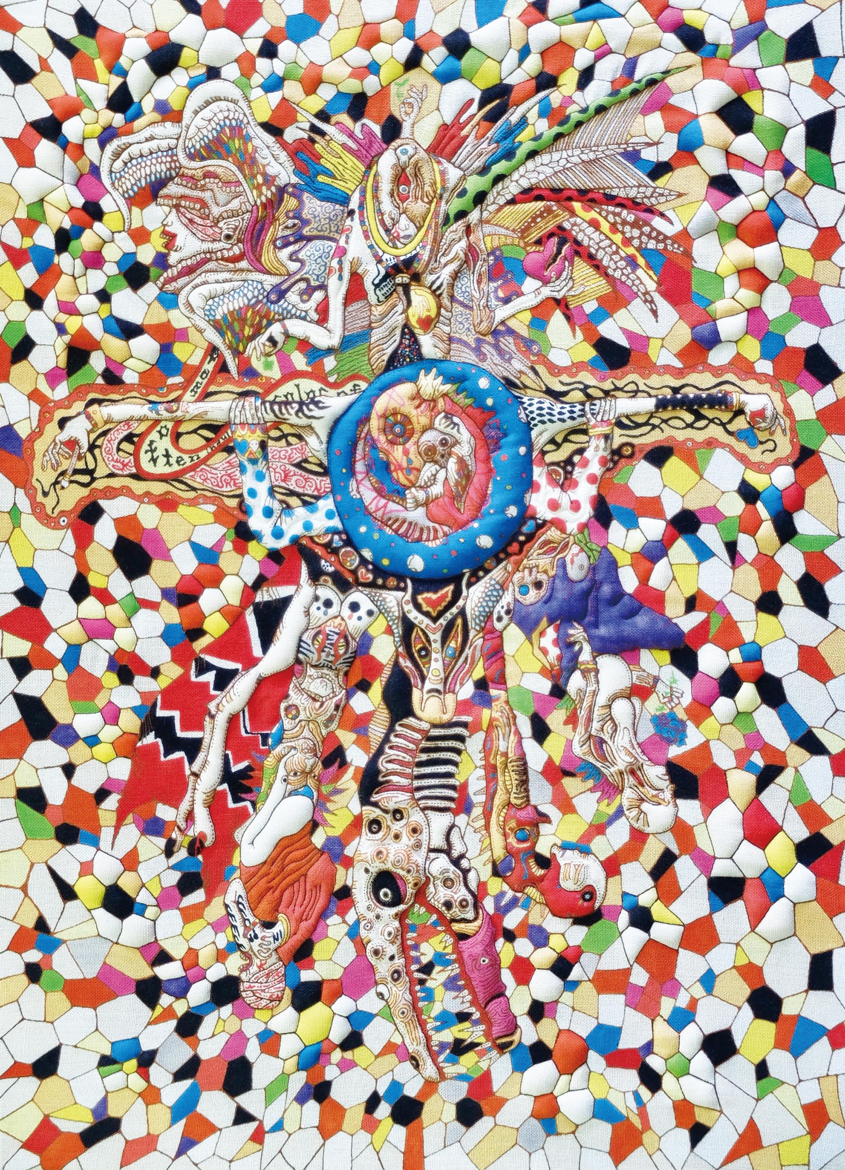 sanctuary,Shoichi Tsurukawa,2017,72.7x53.0cm,Cotton art cross,paste,sirius dyes,cotton on panel